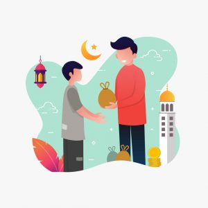 A man giving sadaqa to poor people flat vector cartoon